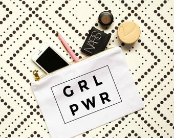grl pwr cosmetic bag, girl power, girl boss, grlpwr, grl pwr shirt, makeup bag, bachelorette party gift, bridal party gift, gift for her