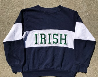 Irish Ireland Vintage Champion Navy Blue White and Green 50/50 Crewneck Sweatshirt Size Medium