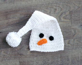 Baby Snowman Hat, Crochet Snowman Hat, Snowman Hat, Baby Elf Hat, Baby Christmas Hat, Crochet Stocking Hat, Winter Baby Hat, White Baby Hat