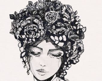 Vintage Rose II // Giclée print from an original pencil and ink illustration by Holly Sharpe