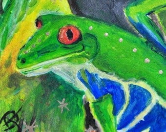 Tree Frog Acrylic Painting, small format, Frog Totem in rain forest, home accent