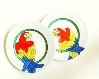 1970s Tropical Bird Plates / Vintage Parrot Dishes / Modern Bohemian Tropical Bird Plates