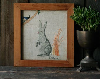 Primitive Folk Art Embroidery Rabbit Easter Picture Cottontail and Bird 1970s Vintage From Nowvintage on Etsy