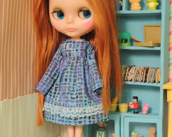 Blue Batik Dress for Blythe