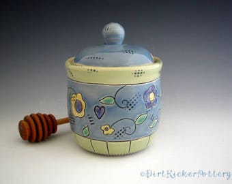 Honey Pot in Blue and Lime with Summer Flowers - Pottery Honey Jar - by DirtKicker Pottery