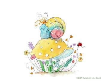 Oskar the Snail - Cute Garden Snail - Art Print