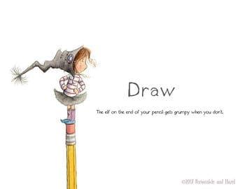 DRAW - It Makes Elves Happy - Elf Art - Art Print