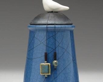Ceramic Bird jar, blue, black, handmade pottery jar ,home decor,Little Clay Bird on Jar, raku fired art pottery, handmade jar with lid