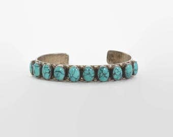 Vintage Sterling Turquoise Bracelet / Signed Don Lucas Row Cuff