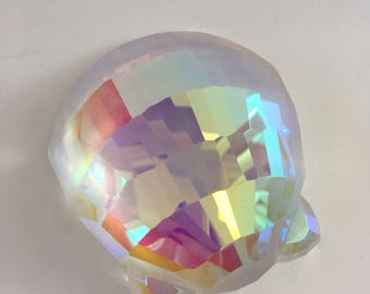 Vintage Iridescent Faceted Seashell Paperweight