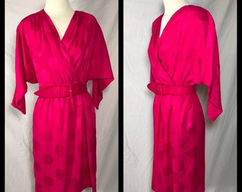 1980s Liz Claiborne Bright Pink Silk Jacquard Dress with Surplice Bodice and Dolman Sleeves - Size 10