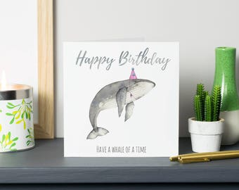 Whale birthday card - watercolour whale illustration - animal birthday card - whale greetings card - birthday card for animal lover