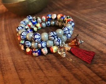 Blue and White Wrap Tassel Bracelet with Colorful Flair