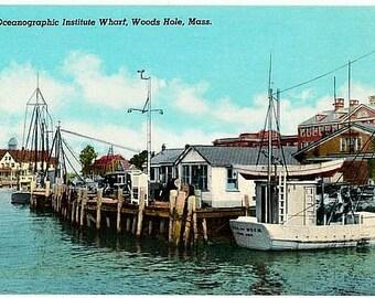 Vintage Cape Cod Postcard - The Wharf at Woods Hole Oceanographic Institution, Woods Hole (Unused)