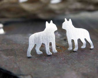Boston Terrier post earrings. Small dog silhouette jewelry. Sterling silver, 14k gold filled or 14k solid gold studs. Gift for dog lover.