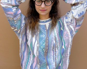 TUNDRA S to M Pastel Colorful Crew Neck Sweater, Cotton Hip Hop Crew Neck Multicolor Bold Geometric Coogi Like