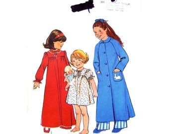 Girls Nightgown & Housecoat Pattern Style 1715 Long or Short Nightie, Robe Size 4