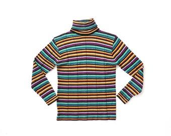 70s Ribbed Knit Top Rainbow Striped 1960s Ye-Ye Mod Mock Neck Shirt Beatnik Poor Boy Sweater Stretch 1970s Long Sleeve 60s Turtleneck Small