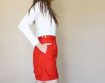 90s RALPH LAUREN red pinstripe TROUSER shorts S
