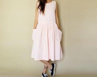 vintage PALE pink OVERSIZED pockets jumper dress M