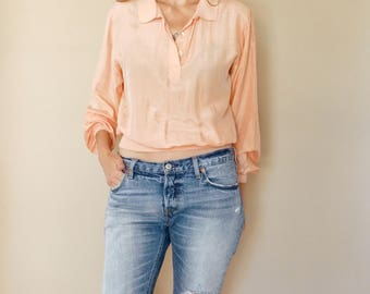vintage peach SILK long sleeve BANDED cropped blouse S-M