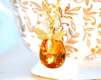 Bee Necklace Gold Bumblebee Pendant Amber Crystal Autumn Topaz November Birthstone Gift for Her Wedding Bridesmaid Gift Honeybee Jewelry