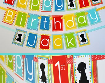Puppy Dog Birthday Party Banner Fully Assembled Decorations | Puppy Birthday | Black Puppy | Puppy Party Theme | First Birthday Party |
