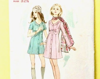Butterick 5735 Misses One Piece Coat Dress  Semi-fitted A-line coat dress in mini or above knee length Vintage Sewing Pattern  Bust 32.5
