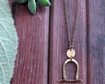 Passageways Necklace - Long Brass Necklace - Abstract Art People Necklace - Boho Minimalist Jewelry - Rustic Artisan Jewelry