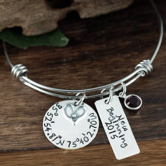 New Beginnings, Coordinate Bangle Bracelet, Latitude Longitude Bracelet, Silver Bangle Charm Bracelet, Birthstone Bangle, Coordinate Jewelry