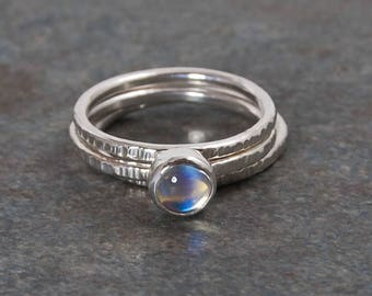Rainbow Moonstone Ring, Rings, Silver Ring, Silver Moonstone Ring, Stacking Rings, Textured Rings, Sterling Silver Ring, Emma's Jewels