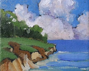 Miniature Impressionist Painting 4x4 Plein Air Landscape Seascape California Monterey Bay Pacific Cliffs Lynne French