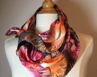 Glowing Flowers scarf, Pink, purple, tangerine floral scarf, earth brown garden bouquet scarves, hand painted autumn bloom silk scarf