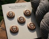 RESERVED- 5 Pine Cone Buttons- - Wooden Buttons- Eco Craft Supplies, Eco Knitting Supplies, Eco Sewing Supplies