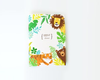 NOTEBOOK Sketchbook Journal - Grrreat Ideas - Lions Tigers bear