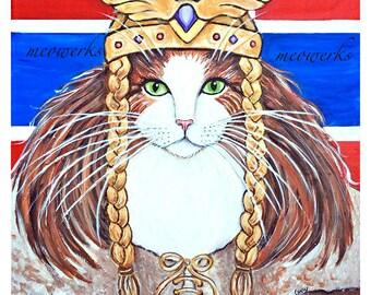 Freya, Goddess of Love and War, Norwegian Forest Cat, Viking