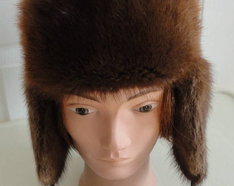 80s Brown Muskrat Fur Trapper Style Hat Small 21 1/2 inches Fourrures Audet Canada