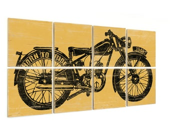 Motorcycle on Wood - Motorcycle Print - Motorcycle Gift - Motorcycle Signs - Rustic Motorcycle - Biker Gift - Gift for Motorcycle Lover