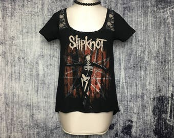 Slipknot Women's Asymmetrical T-Shirt // Reconstructed T-Shirt // Size Small // Heavy Metal Rock Alternative Gothic Goth Horror