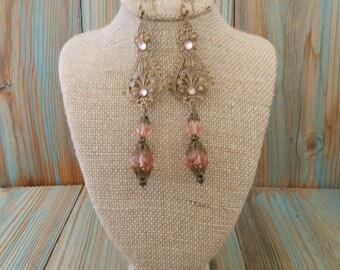 Pink Earrings Brass Ornate Filigree Long Bohemian ~ Neo Victorian Renaissance Inspired Wedding Jewelery ~ Rhinestone Feminine Drop Earrings