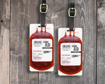 Luggage Tag Blood Bags blood donation Tags Luggage Tag Set With Printed Custom Info On Back, 2 Tags Choice of Straps