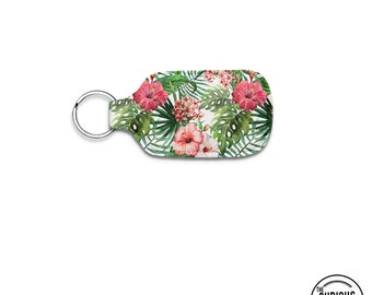 Tropical Hibiscus Flower Neoprene Lip Balm Keychain Key Chain Holder Carry Case