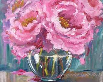 Original Oil Painting, flowers, floral art, multi color, pink, peonies, peony, oil painting, square