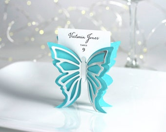 Butterfly Place Cards - Double Wing - Aqua and Silver