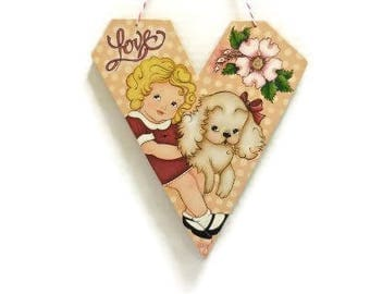 Heart Valentine Hanging With Vintage Style Design   Tole Painted Heart with Girl and Puppy