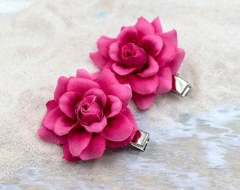 Pink Rose Hair Clip, 2 inch,    Flower Hair Clip,    Hair Accessory, Rose, One Pair