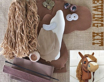 """Small Stick Horse Hobby Horse Mustang Collection """"Fudge"""" Sewing Kit Easy Sewing Project Toddler Size"""