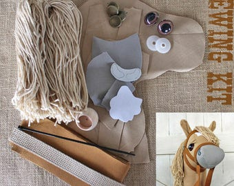 "Small Stick Horse Hobby Horse Mustang Collection ""Chai"" Sewing Kit Easy Sewing Project Toddler Size"
