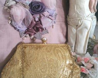 vintage gold bag, gold lurex fabric, princess purse, big pearl clasp, lilac lining, gold evening bag