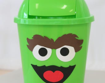 """Green Monster garbage can table top decoration , inspired by """"Oscar the Grouch"""" from Sesame Street"""